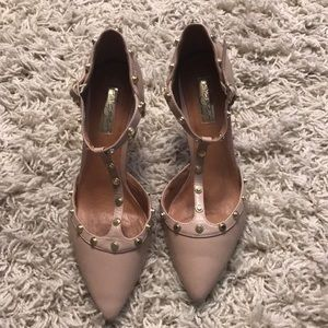 Halogen heels blush color with gold brads size 7